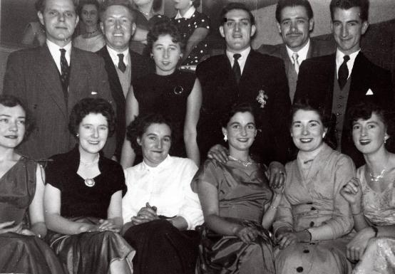 All the gang on an evening out. 1960. Ramsay standing (3rd from the right). Margaret is just in front.