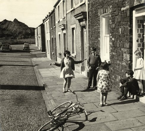 Aberdyberthi Street. 1960's. With the Hafod Tiip in the background.
