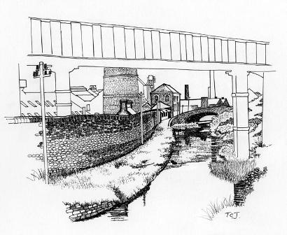 Photograph showing the line of the canal behind what is now the Museum Stores. With an artist's impression of the same view, looking towards the Morfa entrance of the 1940s. Drawing by Tom Jones. 2008.